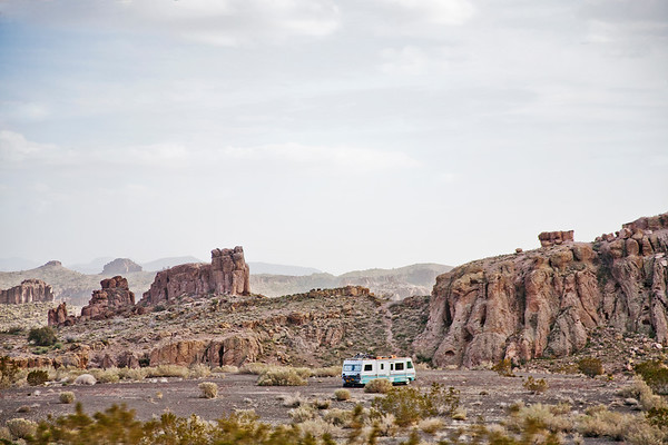 Landscape and lonely camper along Route 66