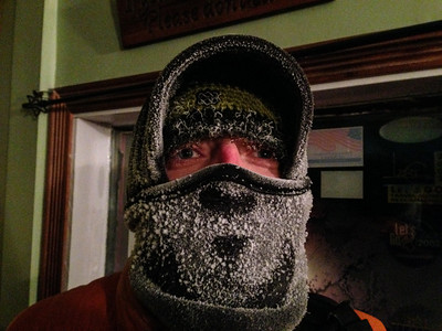 Frost from my breath after walking around outside in Fairbanks, Alaska