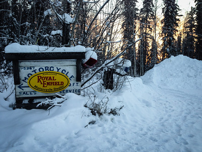 I was quite surprised to see a Royal Enfield sign in Fairbanks, Alaska!