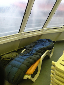 My bed on the ferry to Alaska — the Malaspina Solarium