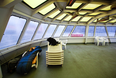 Heaters on the ceiling helped a little bit to warm up the Solarium, but not much — Malaspina on the way to Juneau, Alaska