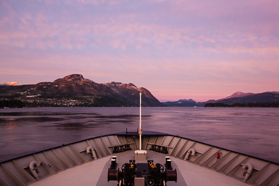 Sunrise from the deck of the Malaspina on the way to Juneau, Alaska