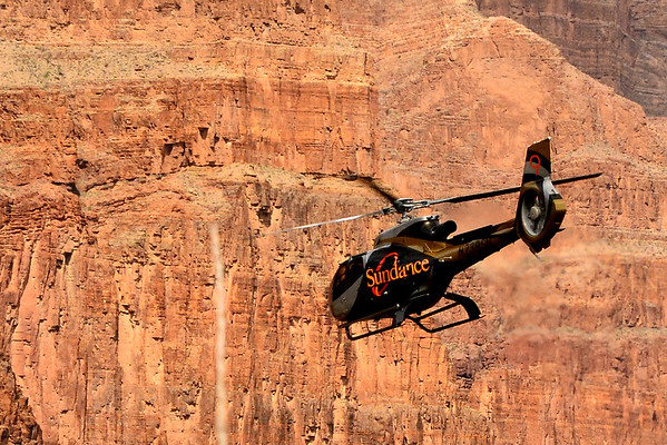 Helicopter and Canyon Walls
