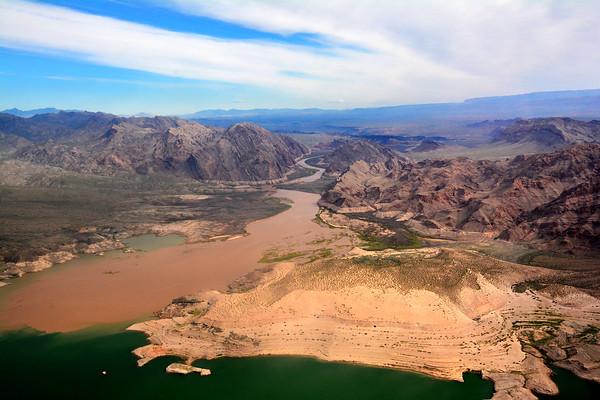 Crazy view of Colorado River entering Lake Mead