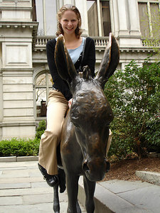 Emily, riding the donkey in front of the Old City Hall - Boston, MA ... April 18, 2006 ... Photo by Rob Page III