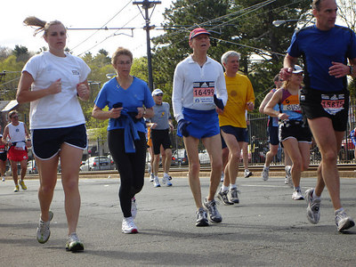 """""""Average Joe"""" runners at the Boston Marathon - Chestnut Hill, MA ... April 17, 2006 ... Photo by Rob Page III"""