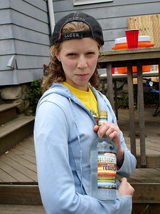 Mean Emily with her bottle of tequilla - Chestnut Hill, MA - April 17, 2006 ... Photo by Rob Page III
