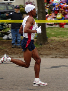 One of the Elite runners in the Boston Marathon - Chestnut Hill, MA ... April 17, 2006 ... Photo by Rob Page III
