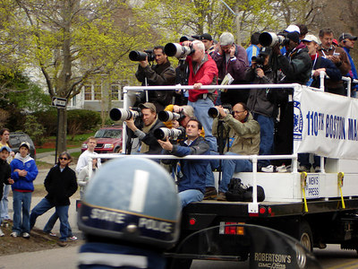 The photographers of the Boston Marathon - Chestnut Hill, MA - April 17, 2006 ... Photo by Rob Page III