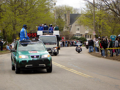 The lead crew for the men's race at the Boston - Chestnut Hill, MA - April 17, 2006 ... Photo by Rob Page III