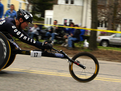 The wheelchair racers of the Boston Marathon - Chestnut Hill, MA - April 17, 2006 ... Photo by Rob Page III