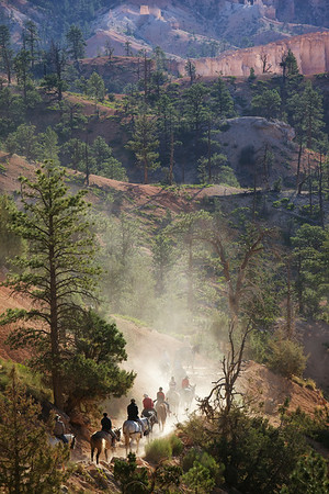 A posse of tourists hits the trail in Bryce Canyon National Park, Utah