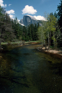 May 5 2003 ... Ref: 0305C15 ... Yosemite National Park.  Half Dome and Merced River from Yosemite valley floor. ... Photographed by Robert W Page Jr