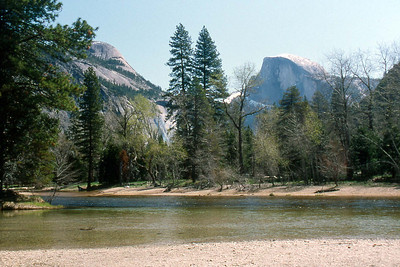 May 5 2003 ... Ref: 0305B15 ... Yosemite National Park.  Merced River and Half Dome from Yosemite Valley floor. ... Photographed by Robert W Page Jr