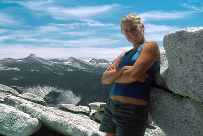 Ref: 0307M03 ... July 16 2003 ... Yosemite National Park California - Rich Dunhoff Memorial Trip - Half Dome Descent - Base of Half Dome cable - Heather. ... Photographed by Robert W Page Jr