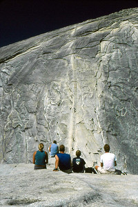 Ref: 0307L05 ... July 16 2003 ... Yosemite National Park California - Rich Dunhoff Memorial Trip - Hike up Half Dome from Little Yosemite Valley - At base of dome below cables - Heather Page (L), Rob Page III (R) ... Photographed by Robert W Page Jr