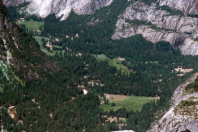 Ref: 0307L20 ... July 16 2003 ... Yosemite National Park California - Rich Dunhoff Memorial Trip - Hike up Half Dome from Little Yosemite Valley - Summit of Half Dome - view of main valley from summit. ... Photographed by Robert W Page Jr