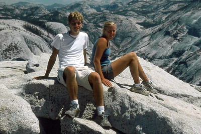Ref: 0307L18 ... July 16 2003 ... Yosemite National Park California - Rich Dunhoff Memorial Trip - Hike up Half Dome from Little Yosemite Valley - Rob Page III and Heather Page on summit of Half Dome. ... Photographed by Robert W Page Jr