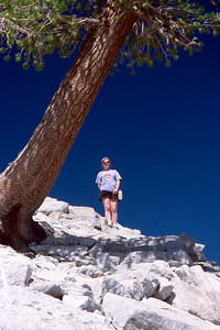 Ref: 0307L03 ... July 16 2003 ... Yosemite National Park California - Rich Dunhoff Memorial Trip - Hike up Half Dome from Little Yosemite Valley - Nearing base of dome - Joyce Page. ... Photographed by Robert W Page Jr