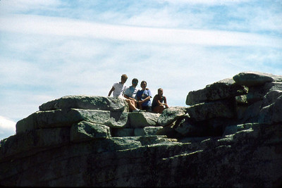 Ref: 0307L23 ... July 16 2003 ... Yosemite National Park California - Rich Dunhoff Memorial Trip - Hike up Half Dome from Little Yosemite Valley - Summit of Half Dome - Rob III, Bob Jr, Joyce, and Heather Page ... Photographed by ???