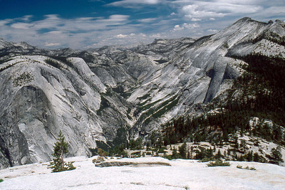 Ref: 0307M04 ... July 16 2003 ... Yosemite National Park California - Rich Dunhoff Memorial Trip - Half Dome Descent - view from base of Half Dome cable - Mt Watkin (left), Tenaya Canyon, Cloud's Rest (right). ... Photographed by Robert W Page Jr