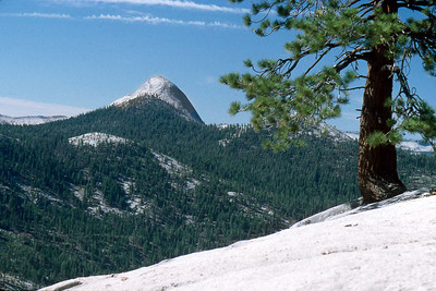 Ref: 0307K34 ... July 16 2003 ... Yosemite National Park California - Rich Dunhoff Memorial Trip - Hike up Half Dome from Little Yosemite Valley - View of of Mt Starr King from base of Half Dome dome. ... Photographed by Robert W Page Jr