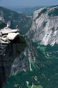 Ref: 0307L21 ... July 16 2003 ... Yosemite National Park California - Rich Dunhoff Memorial Trip - Hike up Half Dome from Little Yosemite Valley - Summit of Half Dome (no one we know!) ... Photographed by Robert W Page Jr