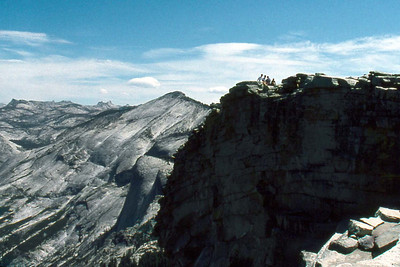 Ref: 0307L22 ... July 16 2003 ... Yosemite National Park California - Rich Dunhoff Memorial Trip - Hike up Half Dome from Little Yosemite Valley - Summit of Half Dome - Rob III, Bob Jr, Joyce, and Heather Page ... Photographed by ???