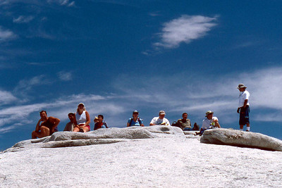 Ref: 0307M02 ... July 16 2003 ... Yosemite National Park California - Rich Dunhoff Memorial Trip - Half Dome Descent - Base of Half Dome cable - Joyce Page in center (blue top). ... Photographed by Robert W Page Jr
