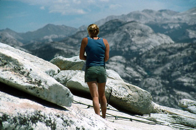 Ref: 0307L26 ... July 16 2003 ... Yosemite National Park California - Rich Dunhoff Memorial Trip - Hike up Half Dome from Little Yosemite Valley - Summit of Half Dome - Heather Page ... Photographed by Robert W Page Jr