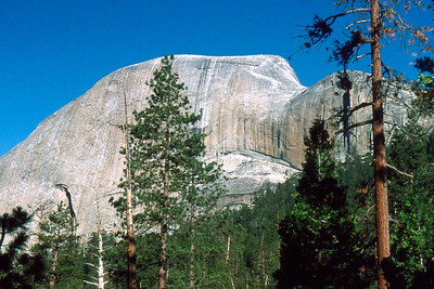Ref: 0307K30 ... July 16 2003 ... Yosemite National Park California - Rich Dunhoff Memorial Trip - Hike up Half Dome from Little Yosemite Valley - View of back side of Half Dome from near LYV campground. ... Photographed by Robert W Page Jr