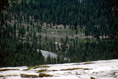 Ref: 0307L14 ... July 16 2003 ... Yosemite National Park California - Rich Dunhoff Memorial Trip - Hike up Half Dome from Little Yosemite Valley - On top looking down at rock dome where we spread Rich Dunhoff's ashes. ... Photographed by Robert W Page Jr