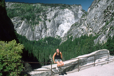 Ref: 0307J23 ... July 15 2003 ... Yosemite National Park California - Rich Dunhoff Memorial Trip - Heather Page at top of Vernal Falls. ... Photographed by Robert W Page Jr