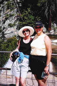 "Ref:  0307Y05 ... July 15 2003 ... Yosemite National Park California - Rich Dunhoff Memorial Trip - Carol Hubbard (left) and Tess Dunhoff at top of Vernal Falls on hike up to Little Yosemite Valley. ... Photo owned by Carol Hubbard and submitted as ""y9.jpg"""