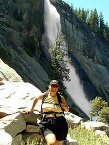 "Ref:  0307Y23 ... July 15 2003 ... Yosemite National Park California - Rich Dunhoff Memorial Trip - Tess Dunhoff in front of Nevada Falls. ... Photo owned by Tess Dunhoff and submitted as ""DSCF0047.jpg"""