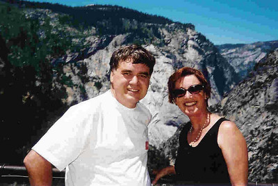 "Ref:  0307Y01 ... July 15 2003 ... Yosemite National Park California - Rich Dunhoff Memorial Trip - Bob Page Jr and Carol Hubbard in Little Yosemite Valley where we spread Rich Dunhoff's ashes. ... Photo owned by Carol Hubbard and submitted as ""y2.jpg"""