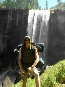 "Ref:  0307Y28 ... July 15 2003 ... Yosemite National Park California - Rich Dunhoff Memorial Trip - John Fairley in front of Vernal Falls during hike up to Little Yosemite Valley. ... Photo owned by Tess Dunhoff and submitted as ""DSCF0053.jpg"""