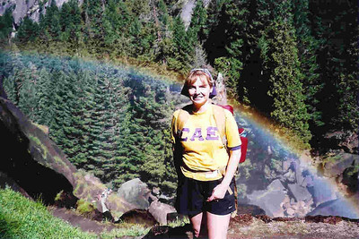 "Ref:  0307Y02 ... July 15 2003 ... Yosemite National Park California - Rich Dunhoff Memorial Trip - Joyce Page and rainbow on Mist Trail near Vernal Falls on hike up to Little Yosemite Valley. ... Photo owned by Carol Hubbard and submitted as ""y3.jpg"""