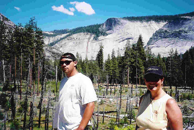"Ref:  0307Y06 ... July 15 2003 ... Yosemite National Park California - Rich Dunhoff Memorial Trip - Nate and Tess Dunhoff in Little Yosemite Valley where we spread Rich Dunhoff's ashes. ... Photo owned by Carol Hubbard and submitted as ""y12.jpg"""