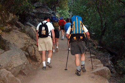 "Ref:  0307Y17 ... July 15 2003 ... Yosemite National Park California - Rich Dunhoff Memorial Trip - Beginning of hike up to Little Yosemite Valley - Stu Hubbard (left) and Bob Page Jr.  Tess Dunhoff in front of Stu with Carol Hubbard to her right.  Heather Page in ront of Tess (can only see pack) with Joyce Page on her right in center of picture. ... Photo owned by Tess Dunhoff and submitted as ""DSCF0033.jpg"""