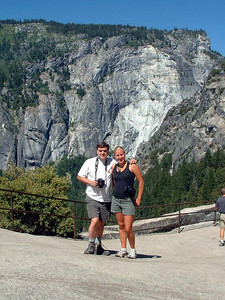 "Ref:  0307Y21 ... July 15 2003 ... Yosemite National Park California - Rich Dunhoff Memorial Trip - Bob Page Jr and Heather Page at top of Vernal Falls during hike up to Little Yosemite Valley. ... Photo owned by Tess Dunhoff and submitted as ""DSCF0044.jpg"""