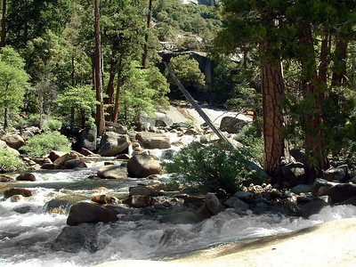 "Ref:  0307Y20 ... July 15 2003 ... Yosemite National Park California - Rich Dunhoff Memorial Trip - Merced River below Vernal Falls during hike up to Little Yosemite Valley. ... Photo owned by Tess Dunhoff and submitted as ""DSCF0043.jpg"""