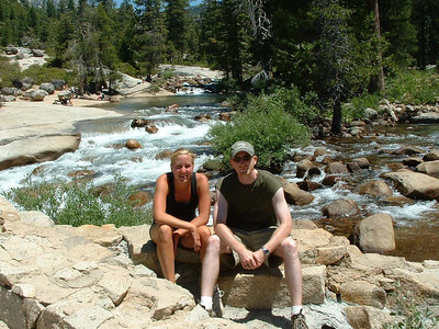 "Ref:  0307Y24 ... July 15 2003 ... Yosemite National Park California - Rich Dunhoff Memorial Trip - Heather Page and John Fairley along Merced River just above Nevada Falls during hike up to Little Yosemite Valley. ... Photo owned by Tess Dunhoff and submitted as ""DSCF0048.jpg"".  Photographed by Robert W Page Jr."
