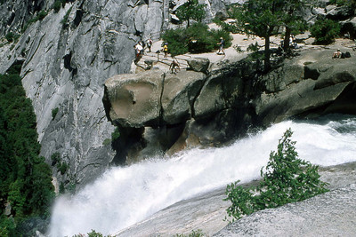 Ref: 0307J26 ... July 15 2003 ... Yosemite National Park California - Rich Dunhoff Memorial Trip - Nate Dunhoff on rocks above Nevada Falls - Joyce Page is behind him. ... Photographed by Robert W Page Jr
