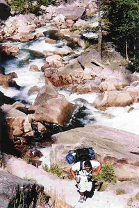 "Ref:  0307Y04 ... July 15 2003 ... Yosemite National Park California - Rich Dunhoff Memorial Trip - Nate Dunhoff along Mist Trail below Vernal Falls on hike up to Little Yosemite Valley. ... Photo owned by Carol Hubbard and submitted as ""y8.jpg"""