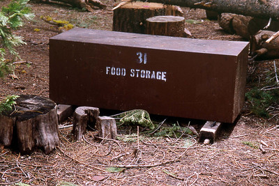 May 6 2003 ... Ref: 0305D28 ... Yosemite National Park.  Little Yosemite Valley Campground.  Bear proof food storage lockers. ... Photographed by Robert W Page Jr