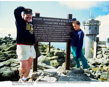 New Hampshire - Summit of Mt Washington in the White Mountains.  Rich Dunhoff (left) and Nate Dunhoff. by Robert W Page Jr - Aug 1991
