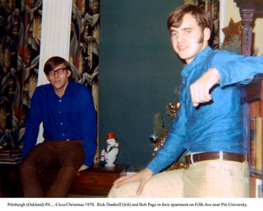 Rich Dunhoff (left) and Bob Page Jr in their apartment on Fifth Ave in (Oakland) Pittsburgh PA. by Joyce Page - Circa 1970