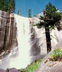 Yosemite - Vernal Falls (lower falls) on hike up to Little Yosemite Valley. by Robert W Page Jr - Aug 1973