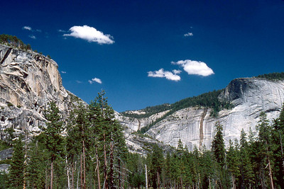 Ref: 0307K11 ... July 15 2003 ... Yosemite National Park California - Rich Dunhoff Memorial Trip - Part of panarama view from rock dome where we spread Rich's ashes in Little Yosemite Valley just north of campground. ... Photographed by Robert W Page Jr